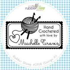 Rubber Stamp - For Crochet Artist. Personalized Crochet with love, Handmade by, Knitthing Stamp, Like us on Facebook, Follow me (2908)