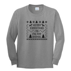 Merry Christmas Ya Filthy Animal YOUTH Long Sleeve T-Shirt Ugly Fake Immitation Knit Sweater Home Alone Ugly Sweater Party Funny Reindeer Santa Snowflake Youth/Child/Kid Long Sleeve Tee Medium Sport Grey