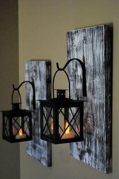 Hanging Candle Lanterns, Lanterns Decor, Candle Wall Sconces, Ideas Lanterns, Hanging Mason Jars, Metal Lanterns, Diy Hanging, Led Candles, Rustic Wall Decor