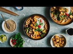 Spicy Coconut Noodle Soup with Mushrooms and Crispy Tofu | Vegan and Delicious - YouTube Spicy Soup, Veggie Stock, Coconut Soup, Crispy Tofu, Stuffed Mushrooms, Stuffed Peppers, Toasted Sesame Seeds, Fresh Coriander, Rice Noodles