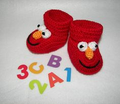 Ravelry: Elmo Baby Booties pattern by Sara Ayers