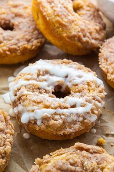 Baked, not fried, these Coffee Cake Donuts are ready in less than 30 minutes! The Vanilla Glaze makes them irresistible!