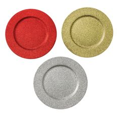 """Decorative Glitter Charger Plate, 13"""" Round Holiday Tabletop Charger Plate, Red, Gold, Silver Glitter Charger, Acrylic Plastic, Charger Plates, Red Gold, Tabletop, Christmas Decorations, Dining Room, Holiday, Kitchen"""