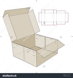 Empty Open Square Box With Die Line Template Stock Vector Illustration 333639332 : Shutterstock