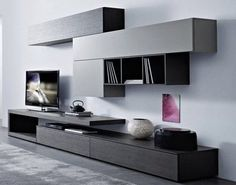 Behind the modern tv - Home Decoraiton Home Living Room, Living Room Decor, Living Tv, Tv Wall Design, House Design, Modern Wall Units, Modern Tv, Home Furniture, Furniture Design