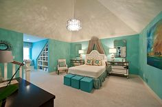20 Bedroom Paint Ideas For Teenage Girls | Turquoise And White -- Turquoise walls enliven this room and when paired with pure white it creates a well-balanced, yet fun space for your teen.