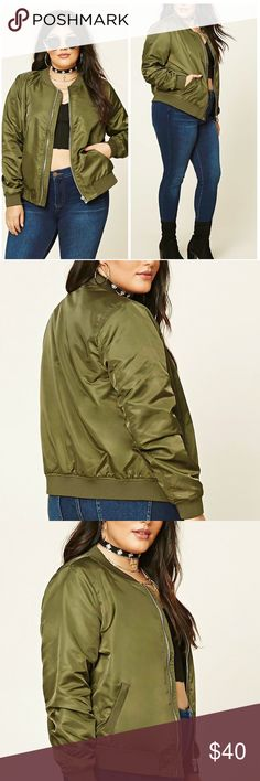 "CLOSET CLOSING Plus Size Bomber Jacket Forever 21+ - A woven bomber jacket featuring a high-polish zipper front, long sleeves, slanted front pockets, and ribbed trim. Army green. Content + Care - Shell: 100% nylon - Lining: 100% polyester - Hand wash cold - Made in China Size + Fit - Model is 5'11"" and wearing a Size 1X - Full length: 25.5"" - Chest: 47"" - Waist: 46"" - Sleeve length: 26"" Forever 21 Jackets & Coats Utility Jackets"
