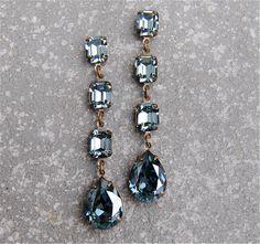 Denim Blue Sapphire Earrings Swarovski Crystal by MASHUGANA, $64.50