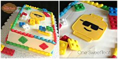 Lego Cake - A lego theme cake covered in buttercream and decorated with fondant made legos.  www.OneSweetTreat.com