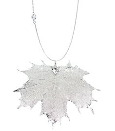 Real Leaf PENDANT with Chain Sugar Maple in Sterling Silver Necklace