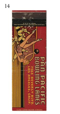 Pan Pacific #Bowling Lanes  #frontstriker To order your logo'd #matchbooks GoTo www.GetMatches.com