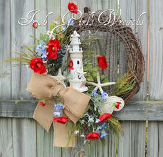 Summer Patriotic Coastal Lighthouse Wreath, Memorial Day, 4th July Wreath, Seaside Starfish Poppy Wreath, red white Blue Floral Wreath