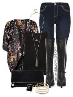 Plus size - fall kimono moda plus луки Fall Kimono, Look Kimono, Kimono Outfit, Kimono Style, Floral Kimono, Kimono Top, Pretty Outfits, Fall Outfits, Cute Outfits