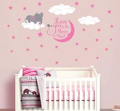 Elephant Vinyl Wall Decal Sticker for Nursery, Girl's Room or Playroom, I Love You to the Moon and Back
