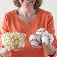 Air-Popped or Light Microwave Popcorn 1 serving = 3 cups Snack away on the healthier varieties of popcorn and enjoy a serving size of three baseballs.