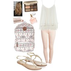 First day by kayskaylee on Polyvore featuring polyvore, fashion, style, Alice & You, Pieces, Monsoon, Billabong, Too Faced Cosmetics, Guerlain and Fresh