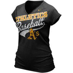 Oakland Athletics Ladies Black Bases Loaded V-neck T-shirt