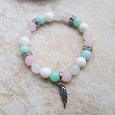Náramek růženín, jadeit, nefrit, amazonit Beaded Bracelets, Earrings, Jewelry, Fashion, Ear Rings, Moda, Stud Earrings, Jewlery, Jewerly