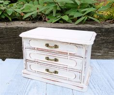 White Jewelry Box  SHABBY CHIC Upcycled Antique by HuckleberryVntg, $59.00