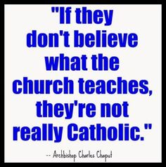 """Couldn't be more true. None of this """"I don't agree with this, this and this, but I'm still a good Catholic!"""" Not so."""