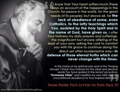 A Letter from St. Padre Pio to Pope Paul VI ~ Inspiring! ❤️