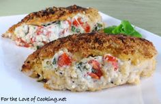 Panko Crusted chicken stuffed with ricotta, spinach, tomatoes and basil