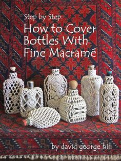 Step by Step: How to Cover Bottles With Fine Macramé/sailor's knots. Detailed photographs and text from start to finish Step by step how to cover bottles with fine macramé/sailor's knots. Detailed photographs and text from start to finish. Macrame Art, Macrame Design, Macrame Projects, Macrame Knots, Macrame Jewelry, How To Macrame, Art Macramé, Micro Macramé, Bottle Cover