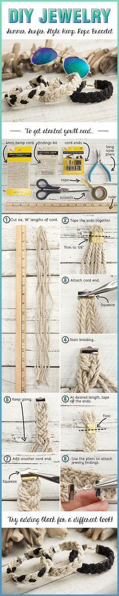 Create this easy DIY Summer Surfer Style Hemp Rope Bracelet in just a few steps.