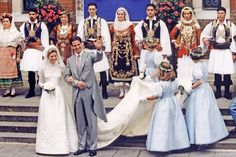 Prince Pavlos of Greece and his bride Marie-Chantal Miller, daughter of American-born businessman Robert W. Miller, wave after their wedding ceremony at the Greek Orthodox St Sophia Cathedral in London 01 July The Princess Bride, Princess Eugenie, Royal Princess, Princess Diana, Royal Wedding Gowns, Royal Weddings, Wedding Dresses, Olympia, Marie Chantal Of Greece