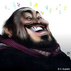 Luciano Pavarotti (Opera Singer) caricature illustration by Achille Superbi
