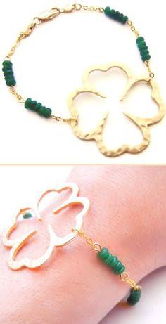 Jade Lucky Clover Bracelet <3