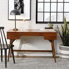 Essence Mid Century Modern Desk Walnut Finish In 2020 Mid Century Modern Desk Modern Desk Walnut Desks