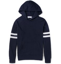 AMI Stripe-Print Cotton-Jersey Hoodie | Punctuated with sporty stripes, AMI's hoodie will lend your casual staples a hit of athletic cool. This relaxed piece is cut for a clean-lined silhouette from soft loopback cotton-blend jersey that feels as good as it looks. Team it with trim jeans and old school sneakers for effortless flair. | MR PORTER
