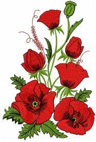 Poppies free machine embroidery design. Machine embroidery design…