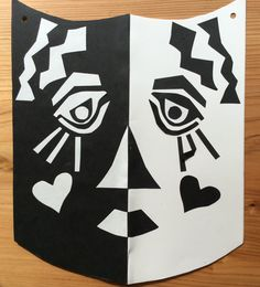 Counter change mask using cut paper.