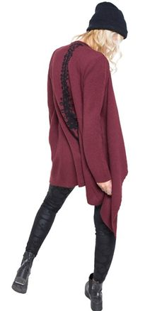 Iron Fist Spineless Drape Sweater in Burgundy Blame Betty