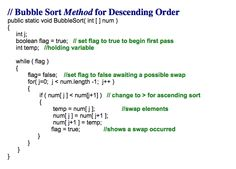 Java code for a bubble sort