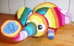 Crochet a rainbow colored elephant