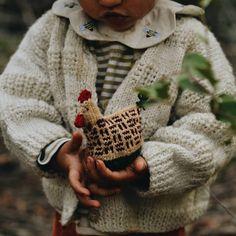 Knitted fair isle chicken