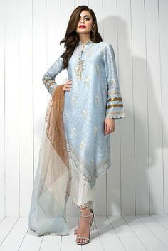 Cotton Net block printed kurta with lace detailing and quirky buttons on neckline * Raw silk block printed pants (to be sold separately) Pakistani Designer Suits, Pakistani Dress Design, Indian Designer Outfits, Designer Dresses, Pakistani Couture, Pakistani Bridal Dresses, Indian Dresses, Indian Outfits, Printed Kurti Designs