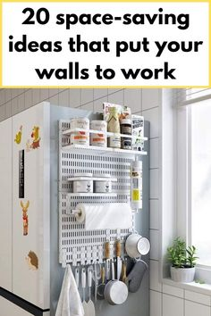 Magnetic pegboard on the fridge for additional storage