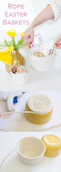 Make these modern rope baskets for Easter this year! You can DIY these adorable rope baskets to use on egg hunts and as gift baskets. So cute, a must-have! http://www.ehow.com/how_4855478_make-rope-baskets.html?utm_source=pinterest.com&utm_medium=referral&utm_content=freestyle&utm_campaign=fanpage