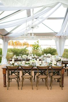 Photo: Jacqueline Campbell Photography; Beautiful Waterfront Maryland Wedding - love the draping of this wedding reception.