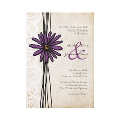 Vintage Purple Daisy Wedding Invitations  Old Fashioned Purple Daisy Wedding Invitation  This vintage old fashioned floral wedding invitation features whimsical customizable text with a violet or lavender purple daisy flower image and faded white lace against an aged parchment paper. Goes great for a Spring wedding, Summer wedding, Fall and Autumn wedding, garden wedding, outdoor wedding, backyard wedding, and bridal shower and wedding shower invitations.