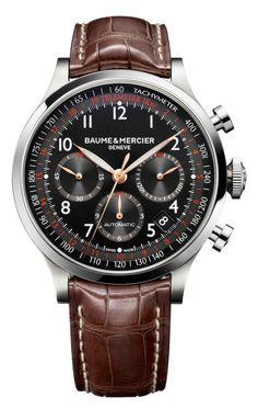 Discover the Capeland 10067 automatic chronograph watch for men with leather strap, designed by Baume et Mercier, Manufacturer of Swiss Watches.