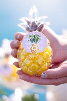 Pineapple Themed Party for Adults | by Jessica Wilcox of Modern Moments Designs | www.modernmomentsdesigns.com | Pineapple Favor Container by Oriental Trading
