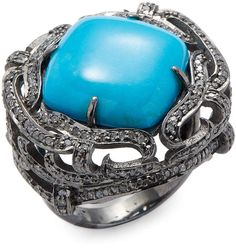 Womens White Diamond & Sleeping Beauty Turquoise Ring Feathered Soul SG2ffCtPY