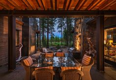 This home designed by Ward Young Architects offers a modern twist on the traditional, rustic mountain house, located in Truckee, California. Metal Garage Buildings, Prefab Buildings, Metal Building Kits, Metal Building Homes, American Home Design, Cabin Porches, Upside Down House, Rustic Patio, Modern Contemporary Homes