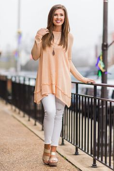 """""""Your Own Way Top, Peach""""Your way is the best way to wear this top! You can style is any way you like to reflect your mood and personality! We love that about this peach beauty! #newarrivals #shopthemint"""