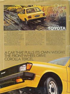 Items similar to 1981 Advertisement Toyota Corolla Tercel Yellow Front Wheel Drive 2 Door Economy Driver Owner Dealership Shop Garage Wall Art Decor on Etsy Toyota Tercel, Toyota Cars, Classic Japanese Cars, Classic Cars, Vintage Advertisements, Vintage Ads, Yellow Car, Old School Cars, Car Advertising